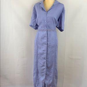 Sarah Spencer Woman 100% Linen Purple Shirt Dress